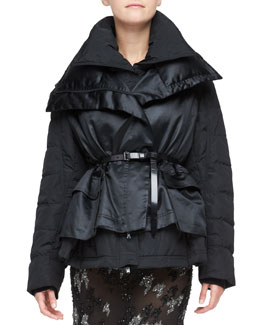 Donna Karan Double-Layer Puffer Jacket, Black