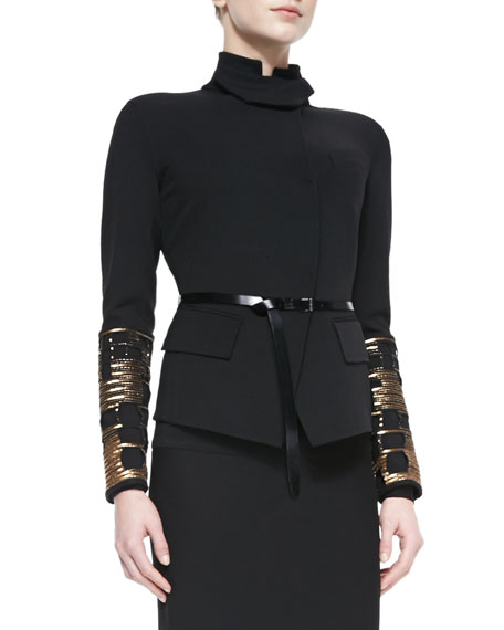 Embellished Convertible-Collar Jacket