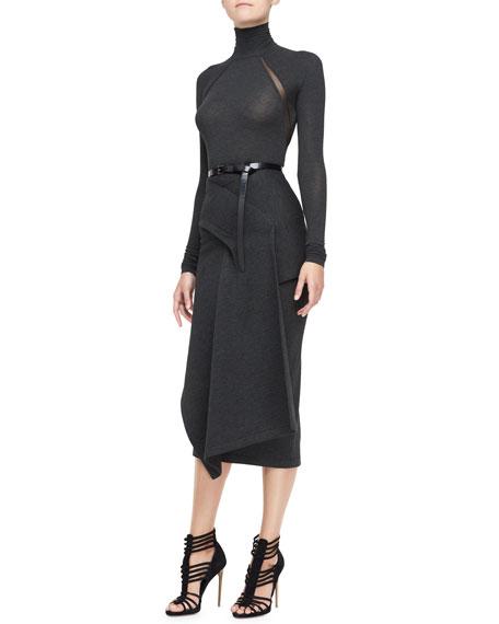 Draped Jersey Midi Skirt, Charcoal