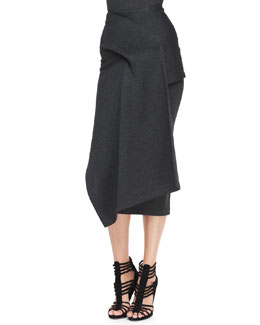 Donna Karan Draped Jersey Midi Skirt, Charcoal