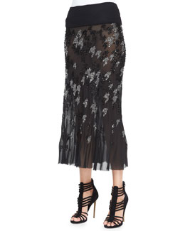 Donna Karan Crystal Houndstooth-Embroidered Midi Skirt