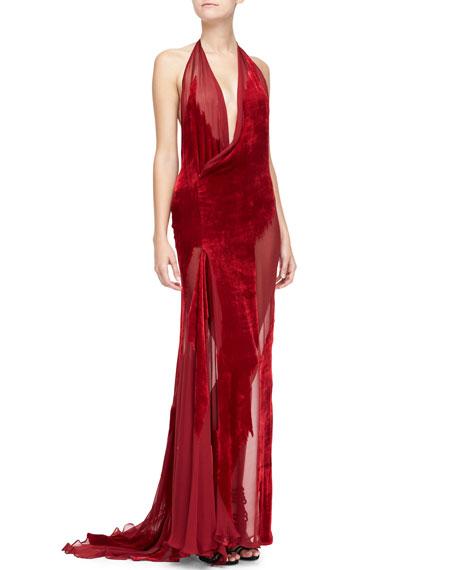 Burnout Velvet & Chiffon Halter Gown, Ruby