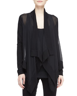 Donna Karan Sheer Drape-Front Cozy Cardigan, Black