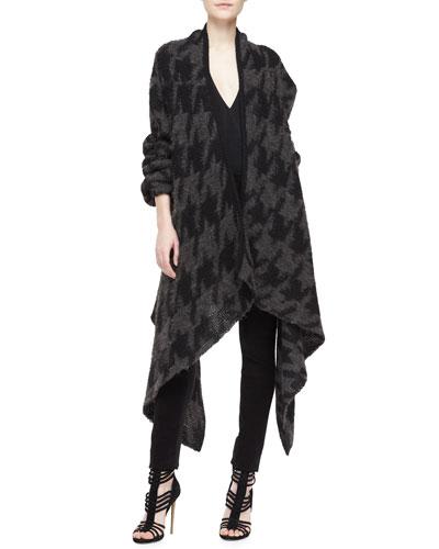 Donna Karan Houndstooth Drape-Front Cozy Coat