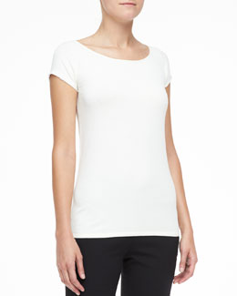 Donna Karan Silk-Trim Cap-Sleeve Top