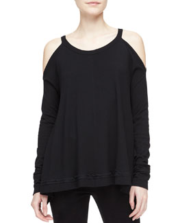 Donna Karan Silk-Side Cold-Shoulder Draped Tunic