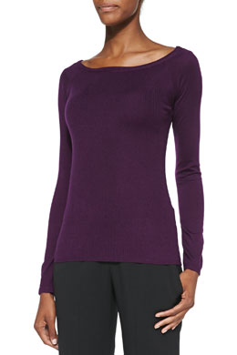 Donna Karan Long-Sleeve Ribbed Raglan Top