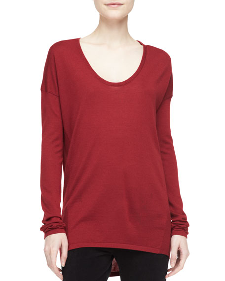 Donna Karan Long-Sleeve Scoop-Neck Tunic