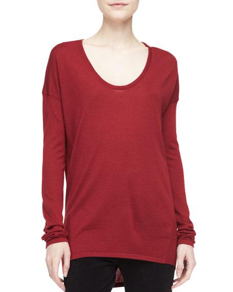 Donna Karan Long-Sleeve Scoop-Neck Tunic