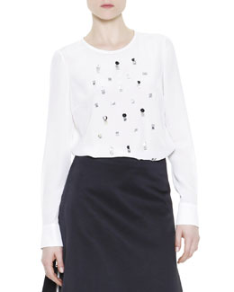 Mantu Embellished Silk Blouse, White