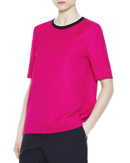 Marni Short-Sleeve Contrast-Neck Top