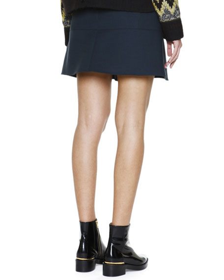 Flounce-Hem Stretch-Wool Skirt