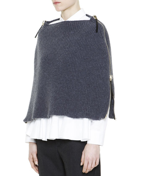 Full-Side-Zip Knit Poncho