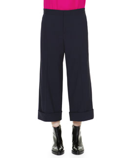 Marni Cuffed Cropped Wide-Leg Trousers