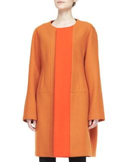 Two-Tone Collarless Coat, Orange