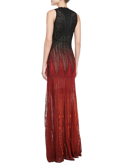 Sleeveless Degrade-Knit Gown