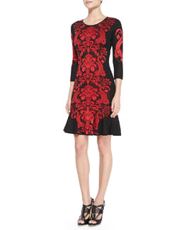 Roberto Cavalli 3/4-Sleeve Flounce-Bottom Dress
