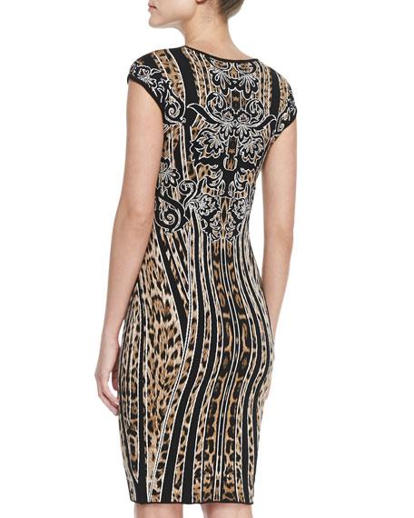 Cap-Sleeve Leopard/Striped Sheath Dress