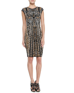 Roberto Cavalli Cap-Sleeve Leopard/Striped Sheath Dress