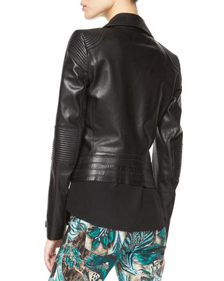Napa Leather Motorcycle Jacket, Black