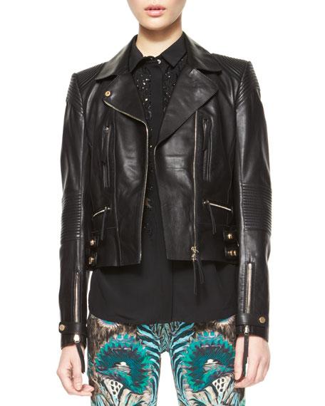 Roberto Cavalli Napa Leather Motorcycle Jacket, Black