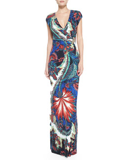Roberto Cavalli Jewel-Side Wrap-Front Maxi Dress