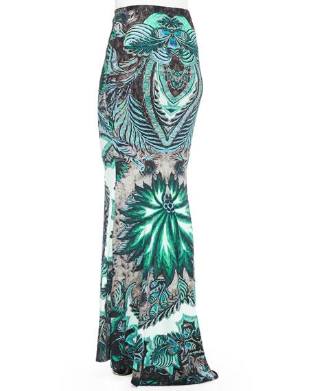 Long Exotic Floral Floral-Print Skirt