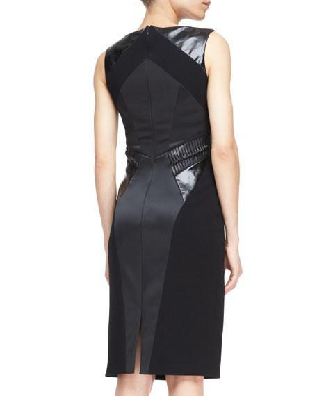 Sleeveless Snake-Paneled Sheath Dress