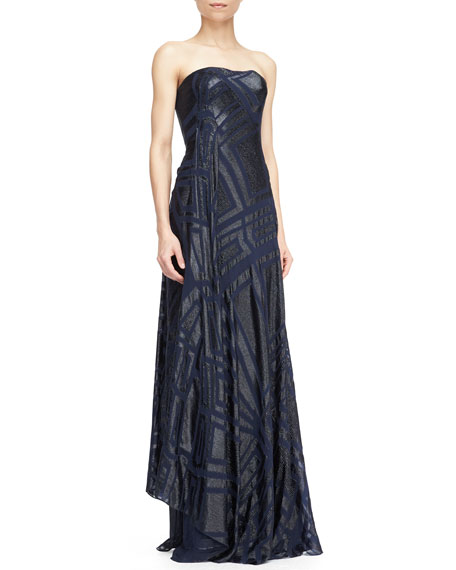 Strapless Cascading Ruffle Gown