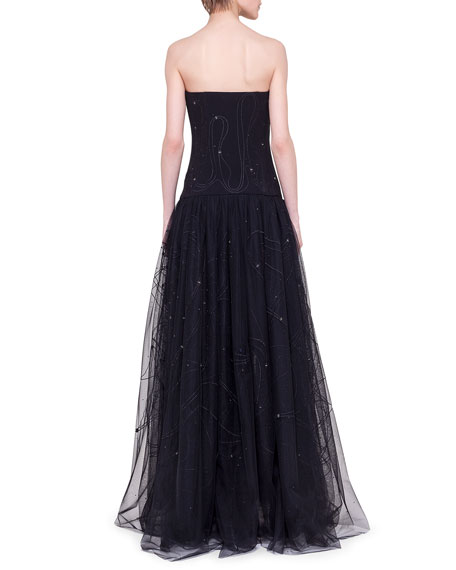 Flashing Stars Strapless Corsage Gown