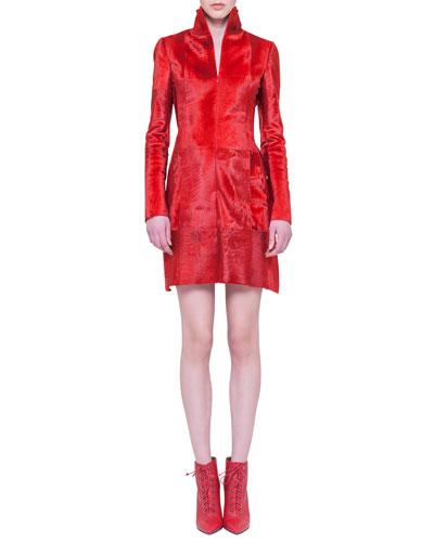 Akris Lamb Fur Stand-Collar Dress