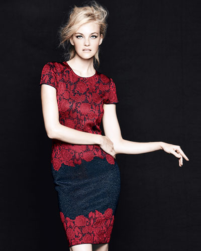St. John Collection Textured Lace Jacquard Dress, Navy/Cardinal