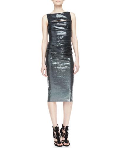 Donna Karan Metallic Sleeveless Peekaboo Sheath Dress, Charcoal
