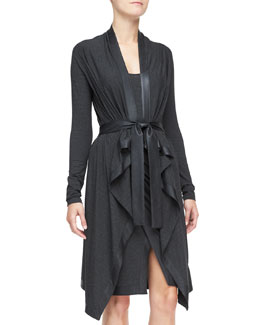 Donna Karan Long Cozy Cardigan with Leather Trim, Charcoal