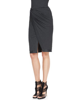 Donna Karan Leather-Trim Draped Scissor Skirt