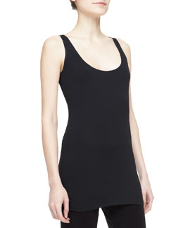 Donna Karan Scoop-Neck Tank, Black
