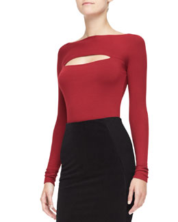 Donna Karan Long-Sleeve Peekaboo Top