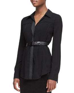 Donna Karan Long-Sleeve Button-Front Tunic Blouse