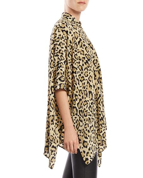Leopard Print Silk Cape Shirt