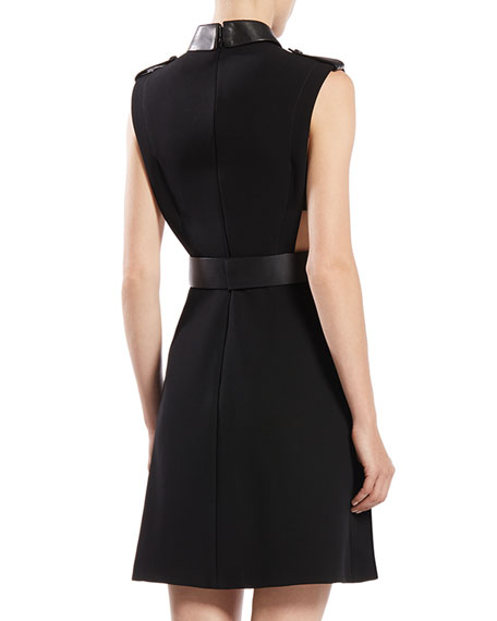 Belted Sleeveless A-Line Dress