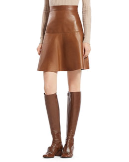 Gucci Leather Flared Skirt