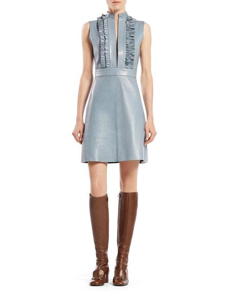 Leather Ruffle Front Sleeveless Dress
