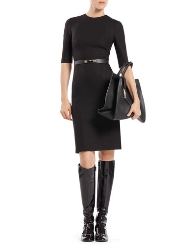 Gucci Belted Short-Sleeve Wool Dress