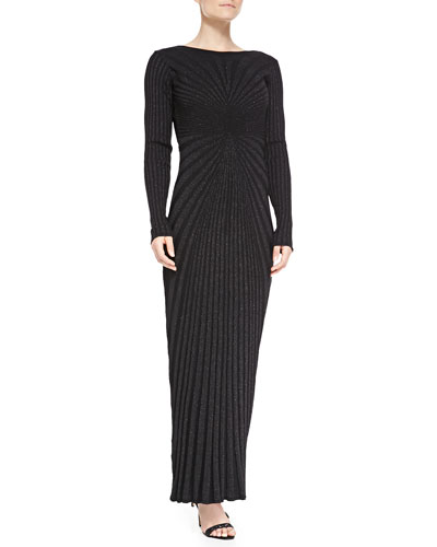 Arzu Kaprol Long-Sleeve Open-Back Metallic Knit Gown