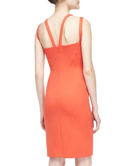 Double-Shoulder V-Neck Sheath Dress, Gerbera