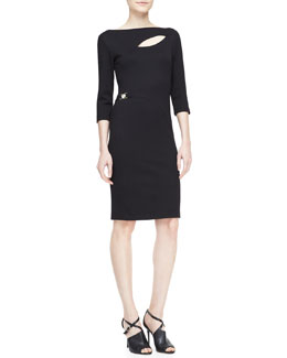 Versace Collection 3/4-Sleeve Cutout Sheath Dress