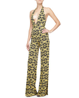 Versace Collection Baroque-Print Halter Jumpsuit