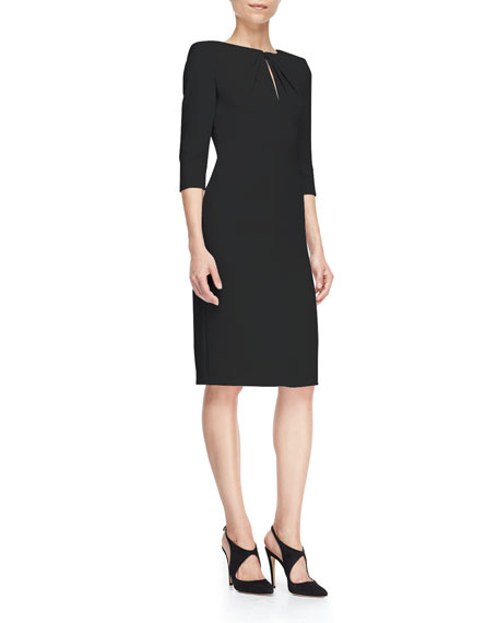 Armani Collezioni Cady 3/4-Sleeve Gathered-Keyhole Sheath Dress