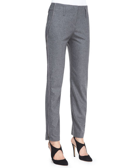 Armani Collezioni Flannel Side Zip-Detail Pants