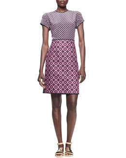 Victoria by Victoria Beckham Mixed-Checker Jacquard Shift Dress